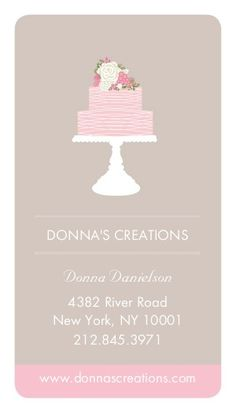 Elegant white cake with florals cake decorating business card card this gray and pink design is great for a bakery owner or pastry chef food pastry logovertical business cardscake cheaphphosting Images