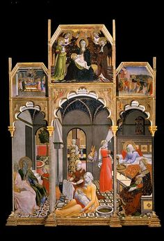 File:Birth of the Virgin with other Scenes from her Life, tempera and gold leaf on panel painting by the Master of the Osservanza Triptych, ca. 1428-39, Museo d'Arte Sacra, Asciano.jpg