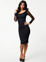 Wholesale Sheer Net Sleeve Black Bodycon Party Dress