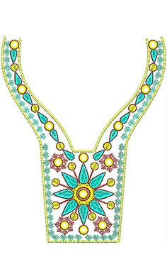 Fall Style Mexican Fashion Neck Embroidery Design