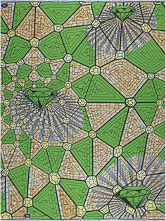 Geweldig patroon van het oerhollandse Vlisco, dat vooral stoffen maakt voor de Afrikaanse markt. Maar ook mooi in een Nederlands droomhuis. Kussensloop?