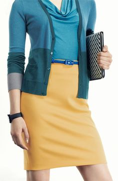 Shop at FNO for great looks like this- Halogen® Colorblock Cardigan, Skirt & Top | Nordstrom