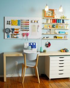 Very organized! Love the pegboard over the desk.