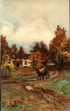 Kunstnerkort Fredrik Borgen Hesteskyss. Utg J.F.  Stemplet 1913.
