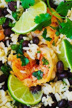 CILANTRO-LIME AND BLACK BEAN SHRIMP AND RICE SKILLET