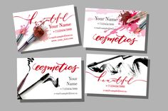 Set of Makeup artist business card by Gulnara Khadeeva on @creativemarket