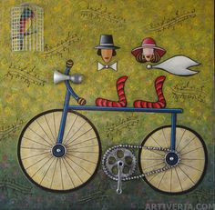 """""""Riding a Bike"""" Oil on Canvas"""