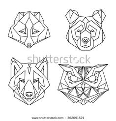Image result for geometric bear head tattoo