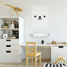 Bear face | Print with smiling bear | kids room decor
