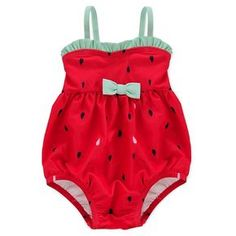 Baby Girls' Watermelon Bubble Suit - Red