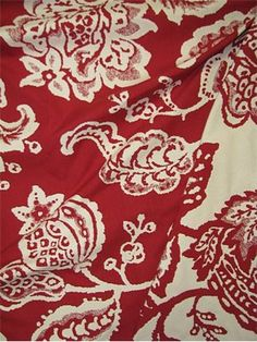red jacobean floral fabric - Google Search