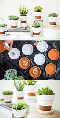 Paint pots, you can find paint for pots in any better stocked store. Let your imagination run wild and repaint your pots so that no one of the guests be indifferent.
