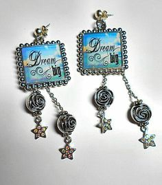 "SALE Inspiring ""Dream Big"" Phrase Blue Cloud Square Pendant Earrings w/Dangling Chains & Silver Rose Balls/Opal Crystal Star Charms FREE SHIPPING - Only $5.49 on Etsy! https://www.etsy.com/listing/217921180/sale-inspiring-dream-big-phrase-blue"