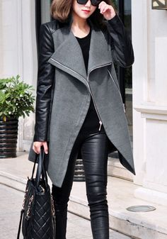 Womens coats with leather look sleeves