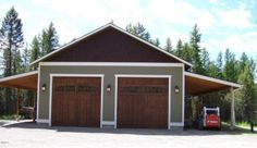 Garage with horse stalls on one side and shed on other Pole Barn Shop, Building A Pole Barn, Pole Barn Garage, Metal Shop Building, Pole Barn Homes, Rv Garage, Two Car Garage, Pole Barns, Garage Shop