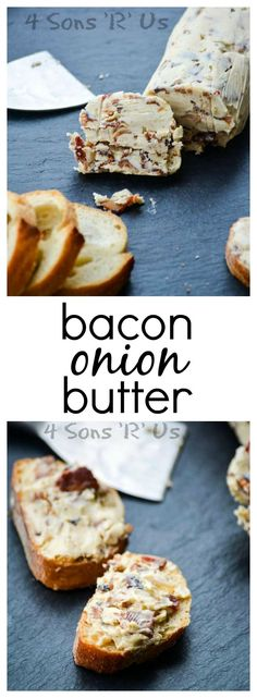 Compound butters build on everything we love about butter. That rich and creamy base has been given a savory upgrade. This Bacon Onion Butter has taken rich smooth butter and fortified it with crisp bacon crumbles, caramelized onions, and a savory hint of Flavored Butter, Homemade Butter, Bacon Recipes, Cooking Recipes, Cooking Tips, Vegan Recipes, Antipasto, Compound Butter, Butter Spread