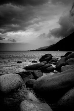 Pictures of Lake Tahoe at Thunderbird Lodge on the East shore of Lake Tahoe Black And White Art Drawing, Black And White Picture Wall, Black And White Landscape, Black And White Wallpaper, Black And White Pictures, Dark Photography, Black And White Photography, Landscape Photography, Gray Aesthetic