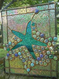 "This would remind me of summer, all year long: Glass ""jewels"" in a mosaic: Stained Glass Starfish Suncatcher Panel Window Tiffany Style 11"" x 14"" 