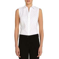Sleeveless pintucked cotton blouse