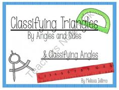 Classifying Angles and Triangles  from A Piece of the Pi Math and More! on TeachersNotebook.com -  (16 pages)  - Classifying Angles and Triangles: Anchor Charts and Picture Dictionary