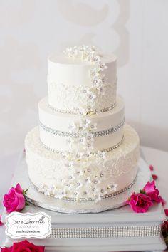 white buttercream, rhinestone, sugar flowers, sparkle cake, white on white, elegant wedding cake!
