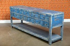 Antique Asian Painted Blue Elm Wood Long Buffet with Two Tiers of Drawers and Base Shelf From Shanxi Region