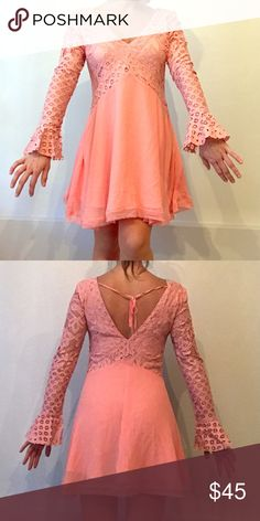 Pink Dress Peplum sleeve pale pink pink dress with lace detail. Flowy and great for dancing at weddings 💃🏼 Tularosa Dresses Long Sleeve
