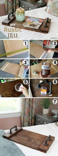 The best DIY projects & DIY ideas and tutorials: sewing, paper craft, DIY. DIY Furniture Plans & Tutorials : Check out how to make an easy DIY Rustic Tray Industry Standard Design -Read Kids Woodworking Projects, Woodworking Furniture Plans, Diy Wood Projects, Woodworking Crafts, Wood Crafts, Woodworking Shop, Woodworking Equipment, Diy Furniture, Carpentry Projects