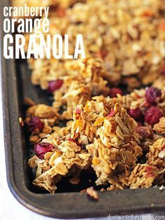 his cranberry orange granola is so good! It is so much healthier for you than a bowl of processed cereal. One batch makes over 8 servings for about each. Plus you can make it ahead of time for the whole week or even offer as an easy homemade gift too! Healthy Snacks, Healthy Eating, Healthy Recipes, Real Food Recipes, Cooking Recipes, Freezer Recipes, Freezer Cooking, Waffle Recipes, Drink Recipes
