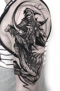 Sketch style dragon by Felipe Mello