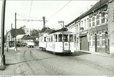 Ninove.  ( aan den tragel) 1953. Tram Ninove Leerbeek.