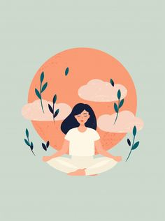 Illustration Of Yoga Girl Meditation With Sun And Clouds Illustration of yoga girl meditation wit… Art And Illustration, Illustration Inspiration, Illustration Editorial, Girl Illustrations, Portrait Illustration, Character Illustration, Graphic Design Illustration, Yoga Kunst, Meditation Art