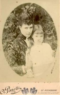 """Empress Marie Feodorovna of Russia with her youngest daughter,the Grand Duchess Olga Alexandrovna Romanova of Russia.   """"AL"""""""
