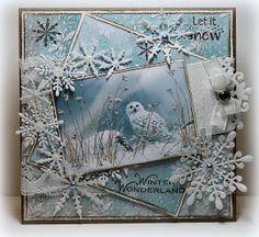 "Ineke""s Creations: Ice Crystals by JOY Craft Chrismas Cards, Christmas Cards To Make, Xmas Cards, Handmade Christmas, Holiday Cards, Xmas Theme, Theme Noel, Owl Card, Beautiful Christmas Cards"