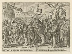 Philips Galle | Triomf van de faam, Philips Galle, Hadrianus Junius, c. 1565 | De gevleugelde Faam (Fama) blaast op haar twee bazuinen. Zo verkondigt zij de roem van veldheren en filosofen uit het verleden. In haar stoet lopen Alexander de Grote, Julius Caesar, Cato en Plato. De wielen van haar wagen zijn versierd met tongen, oren en ogen om de roem te verbreiden. Faam overwint de Dood; hij wordt jammerlijk verpletterd onder de poten van de olifanten. Op de achtergrond staan twee obelisken…
