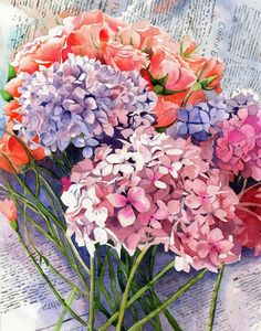 Giclée Flower Hydrangeas Floral Garden Art of a by rachelsstudio - Fresh Cut Hydrangeas
