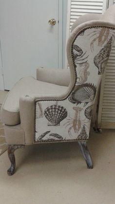 Pretty chair with beach theme and nailheads