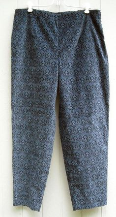 Talbots Soft Velvet Blue Print Pants Size 16 Free Shipping in the USA