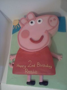 Peppa Pig Happy Birthday Rosie, 2 today x Kids Birthday Crafts, 3rd Birthday Parties, Birthday Bash, Birthday Ideas, Peppa Pig Happy Birthday, Pig Birthday Cakes, Pig Party, Party Fun, Party Ideas