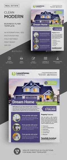 #Real Estate Flyer Template - #Commerce Flyers Download here:   https://graphicriver.net/item/real-estate-flyer-template/19839773?ref=suz_562geid