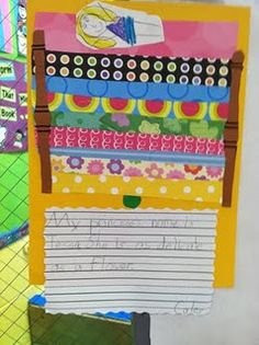 Descriptive writing - Princess and the Pea - uses scrapbook paper to make mattresses. Love it!