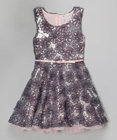 Another great find on #zulily! Slate Sequin Flower Belted A-Line Dress by Beautees #zulilyfinds