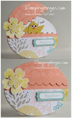 handmade Easter card ... egg-shaped with top that lifts to show little chick inside ... great card!