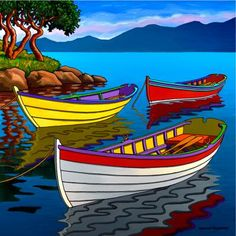 Contemporary Landscape Art of Canadian BC Hornby Island Artist Graham Herbert; Landscape Art, Landscape Paintings, Landscapes, Art And Illustration, Boat Art, Naive Art, Whimsical Art, Art Pictures, Watercolor Paintings