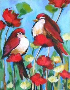 Bird and Poppies Art Print 11x14