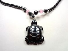 CARIBBEAN ISLAND HANDMADE HEMATITE NAUTICAL SEA TURTLE WITH PINK BEADS NECKACE #Handmade #Pendant