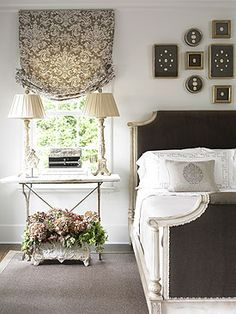 And love the window treatment. // Decorating Ideas: Beautiful Neutral Bedrooms - Traditional Home® Dream Bedroom, Home Bedroom, Bedroom Decor, Pretty Bedroom, Master Bedroom, Design Bedroom, Bedroom Simple, Bedroom Interiors, Bedroom Lamps