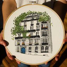 Interesting idea - embroidering buildings / architecture