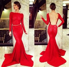 sexy red prom dress backless long sleeves slim lace mermaid evening party prom dress  DE033