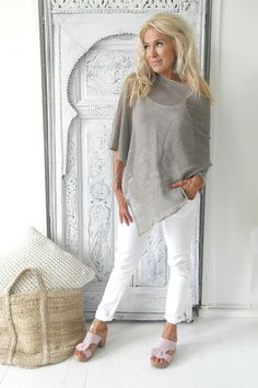 Knitted Linen Poncho, NATURAL